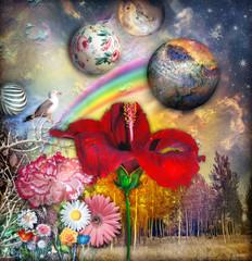 Obraz na płótnie Canvas Paesaggio fiabesco e fantastico con hibisco,fiori tropicali e arcobaleno