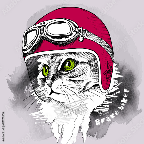 Fotobehang Hand getrokken schets van dieren Image cat portrait in retro motorcycle helmet. Vector illustration.