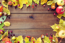 Frame Of Autumn Leaves, Fruits...