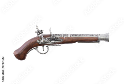 Old wooden gun on white background Wallpaper Mural