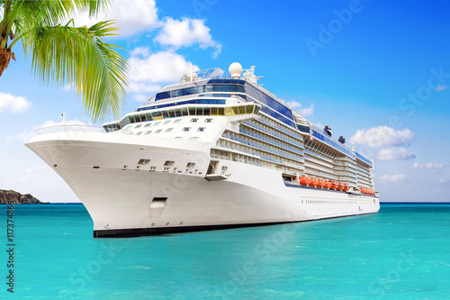 Fotografia  Luxury Cruise Ship Sailing to Port