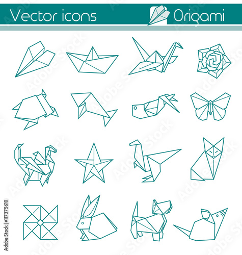 the animal origami, paper folding, Vector icons. Poster
