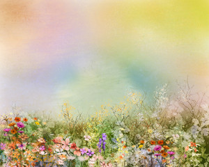 Fototapeta Dmuchawce Abstract oil painting flowers plant. Purple cosmos, white daisy, cornflower, wildflower, dandelion flower in fields. Hand painted floral meadow and yellow background. Spring flower nature background