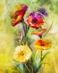 Fototapeta Malarstwo Watercolor painting flowers. Hand paint still life bouquet of yellow ,orange, white gerbera flowers on grunge textures background. Vintage painting style. Spring flower nature background