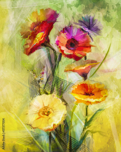 Watercolor painting flowers. Hand paint still life bouquet of yellow ,orange, white gerbera flowers on grunge textures background. Vintage painting style. Spring flower nature background - 117377054