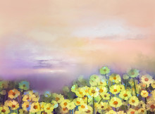 Oil Painting Yellow, Golden Daisy Flowers In Fields. Sunset Meadow Landscape With Wildflower, Sky In Orange And Blue Violet Color Background. Hand Paint Summer Floral Impressionist Style