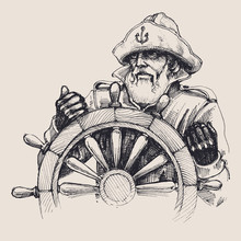 Portrait Of A Sailor Vector Drawing