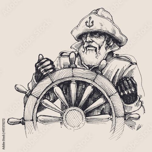 Fotografía  Retrato de un dibujo vectorial marinero
