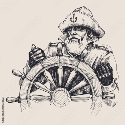 Vászonkép  Portrait of a sailor vector drawing