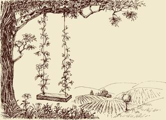 Fototapeta Drzewa Swing drawing. A cute floral swing in the forest