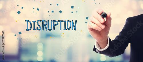 Fotografie, Obraz  Businessman drawing Disruption concept
