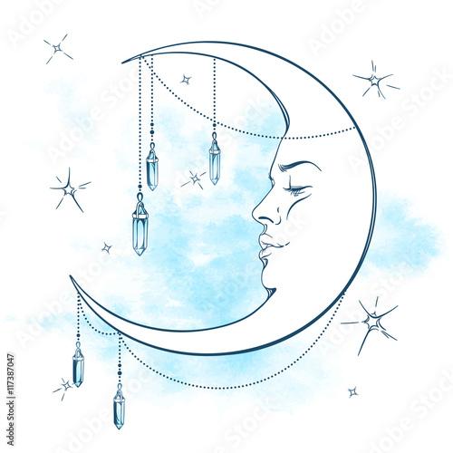 Valokuvatapetti Blue crescent moon with moonstone pendants and stars vector illustration