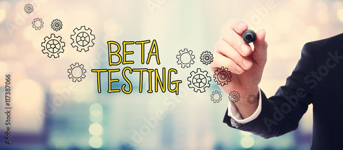 Photo Businessman drawing Beta Testing concept