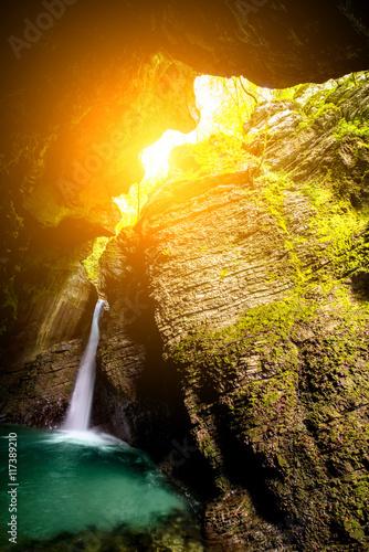 Fototapeta Kozjak waterfall in Triglav natioanl park in Slovenia. Long exposure technic with motion blurred water