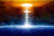 Leinwandbild Motiv Extraterrestrial aliens spaceship hits blue planet in deep space