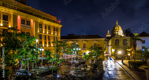 Poster South America Country Old Walled City of Cartagena at night - Colombia