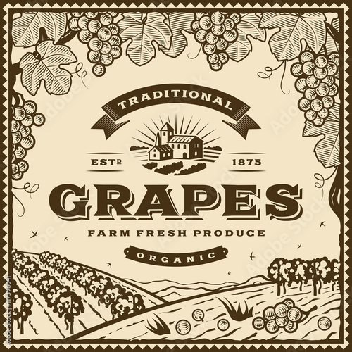 Vintage brown grapes label