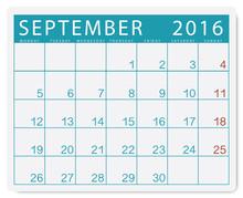Calendario 2016: Mese Di Settembre Con Festivi