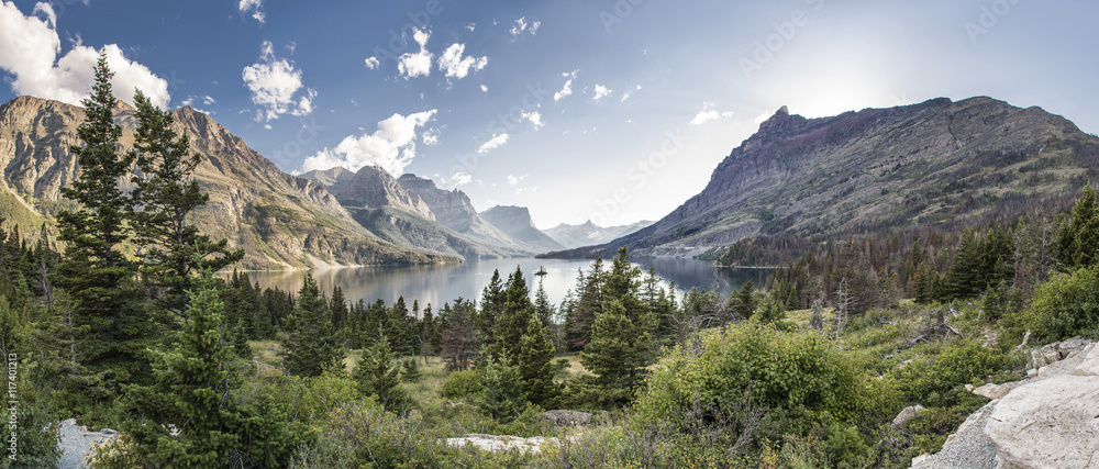 Fototapeta Wild Goose Island Panoramic - Glacier National Park