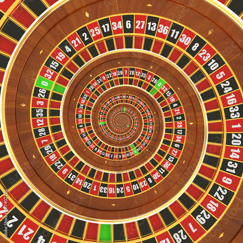Fototapety, obrazy: Spiral Casino Roulette, 3D rendering
