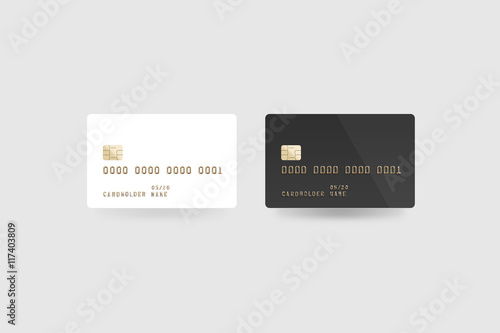 blank white credit card mockup isolated clipping path front and back side 3d
