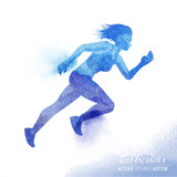 A young active woman running - Watercolour vector illustration.