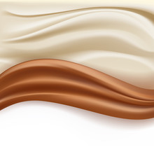 Soft Creamy Milky And Chocolate Abstract Waves Over White