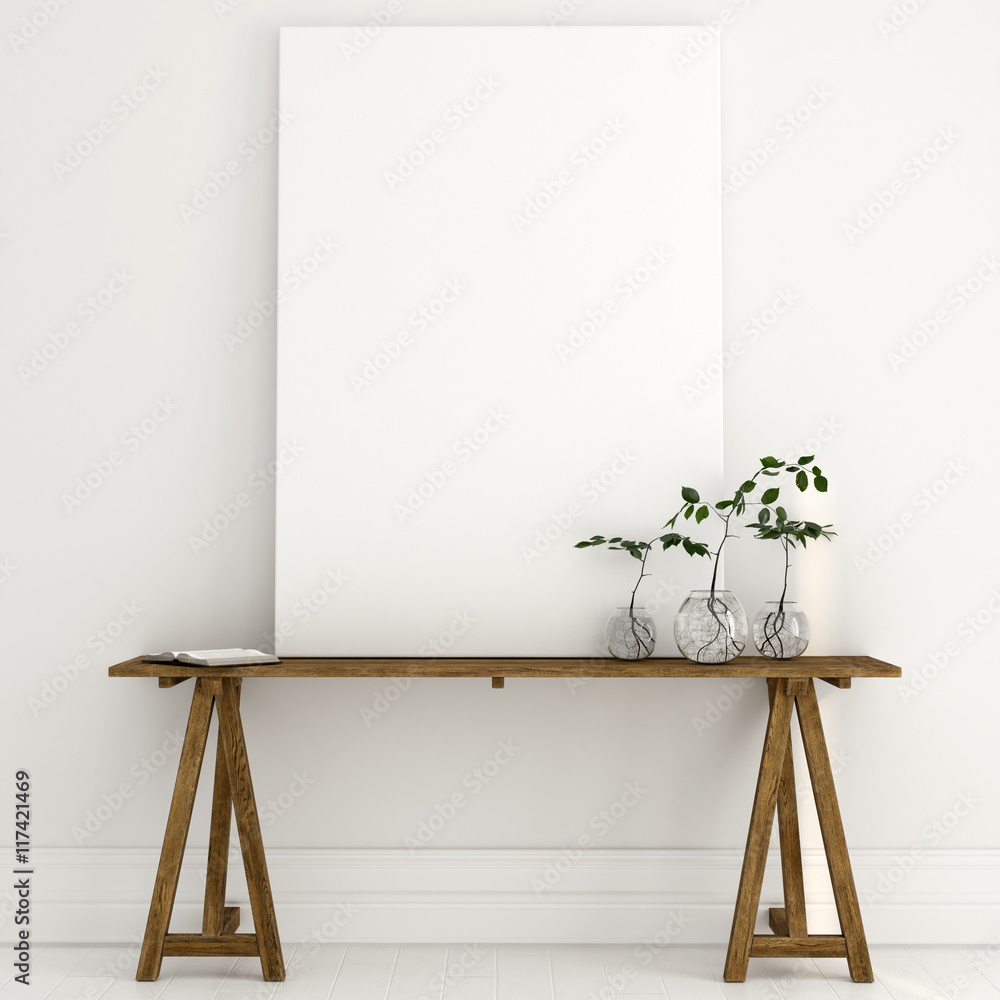 Fototapety, obrazy: Mock up of a white canvas on a wooden table in a bright interior
