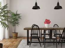 Interior Of Dining Area With A Large Wooden Table And Black Chai