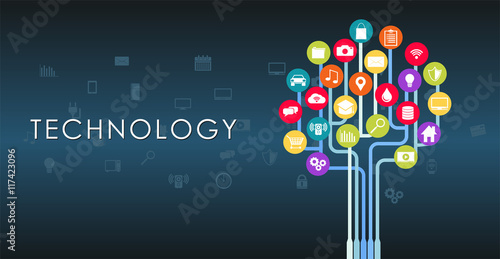 Technology growth abstract concept illustration.