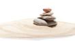 Japanese zen stone garden on sand