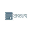 Education company icon with pile of books. Vector illustration