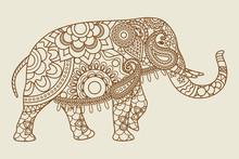 Mehendi Indian Elephant Illist...