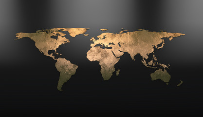Fototapeta na wymiar Golden continents on the world map. 3D visualization