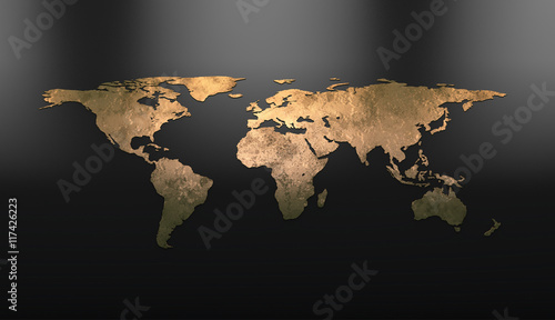 Fototapeta  Golden continents on the world map. 3D visualization