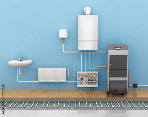 Fotografie, Obraz  underfloor heating, heating systems in home. 3d illustration