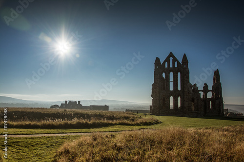 Poster Taupe Whitby cemetery grave yard Abbey seaview in Yorkshire, England the UK