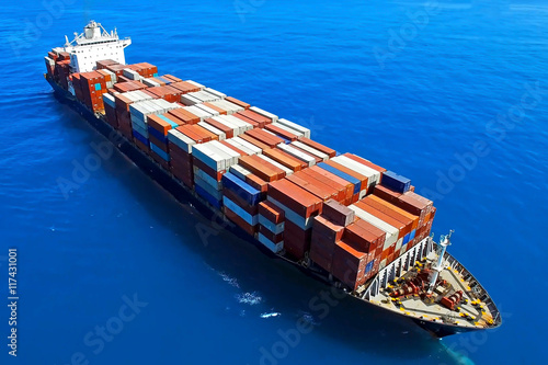 Fotografie, Obraz  Large container ship at sea - Aerial photo