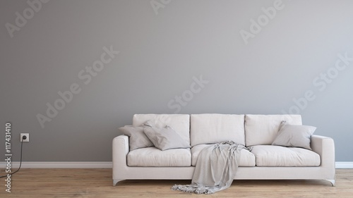 Minimal Empty And Clean Grey Wall With Wooden Floor And White Sofa - Buy This Stock Illustration And Explore Similar Illustrations At Adobe Stock | Adobe Stock
