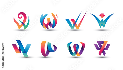 Fotografía  Abstract Colorful W Logo - Set of Letter W Logo