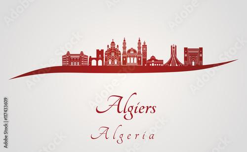 Photo Algiers skyline in red
