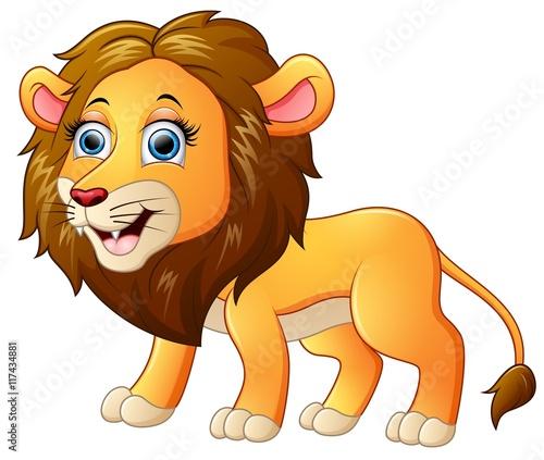 Foto op Aluminium Zoo Happy lion cartoon isolated on white background