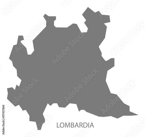 Lombardia Italy Map grey Wall mural