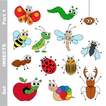 Small Insects Set Colorful.