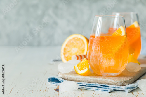 Spitz aperol cocktail in glasses