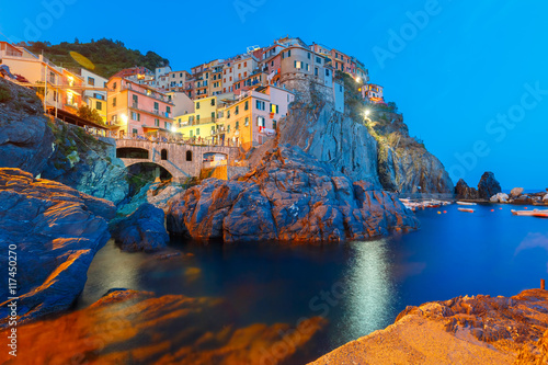 Canvas Prints Liguria Night view of Manarola fishing village, seascape in Five lands, Cinque Terre National Park, Liguria, Italy.