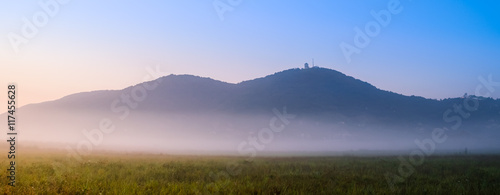 Acrylic Prints Hill Distant hills on misty morning