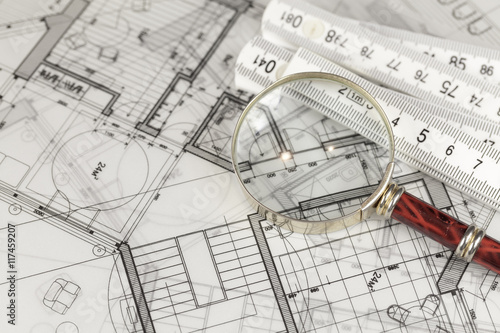 architecture blueprints.  Architecture Architecture Blueprints  House Plans Magnifying Glass U0026 Folding Ruler To Architecture Blueprints S