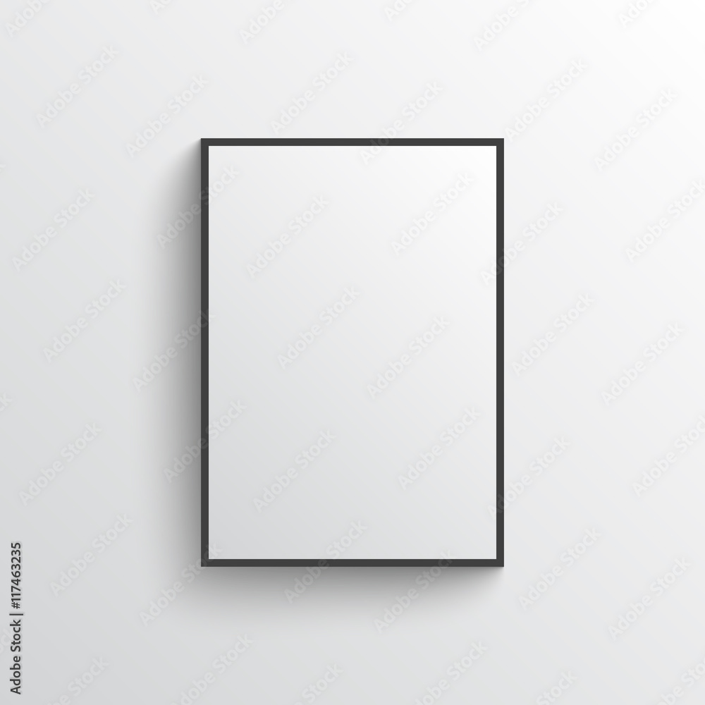 Fototapeta White blank poster with frame mock-up on grey wall