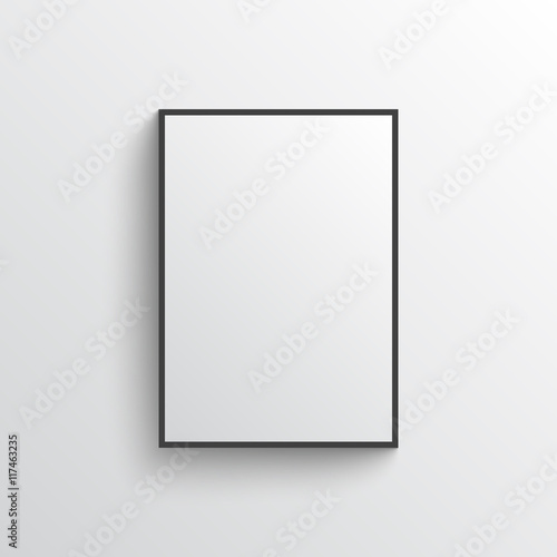 White blank poster with frame mock-up on grey wall Wall mural
